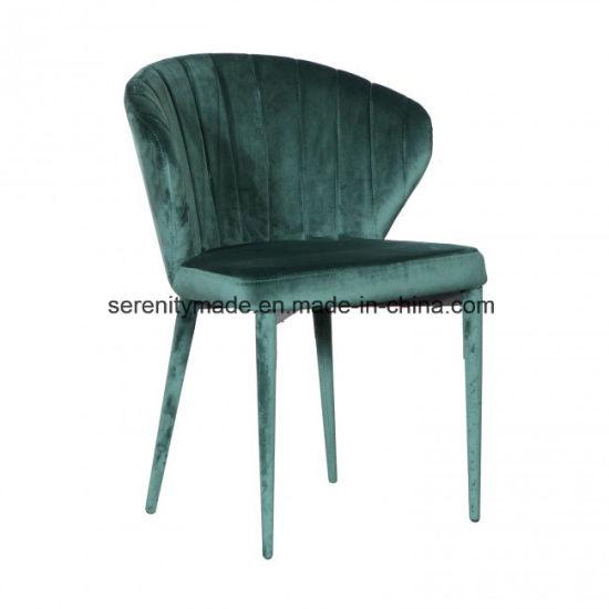 China Modern Furniture Green Velvet Upholstered Restaurant Dining