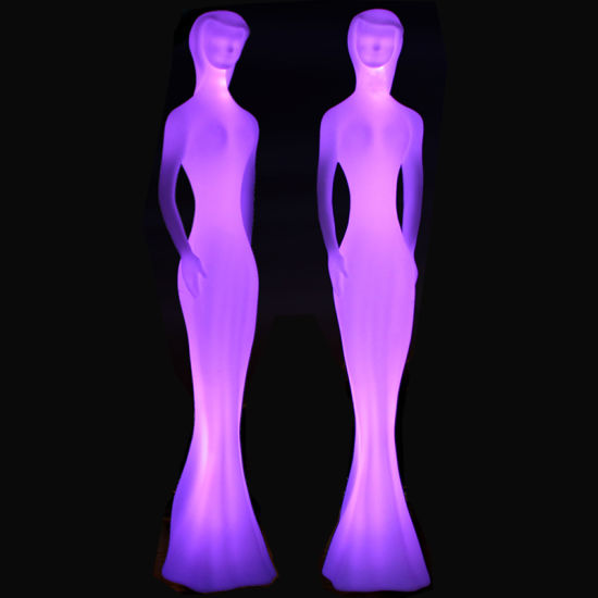 LED Lighting Lounge Furniture Plastic Tall Lady Model for Event/Party/Showroom/Wedding