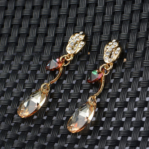 Fashion Style Jewelry Plated Alloy Eardrop Rhinestone Topaz Crystal Earrings pictures & photos