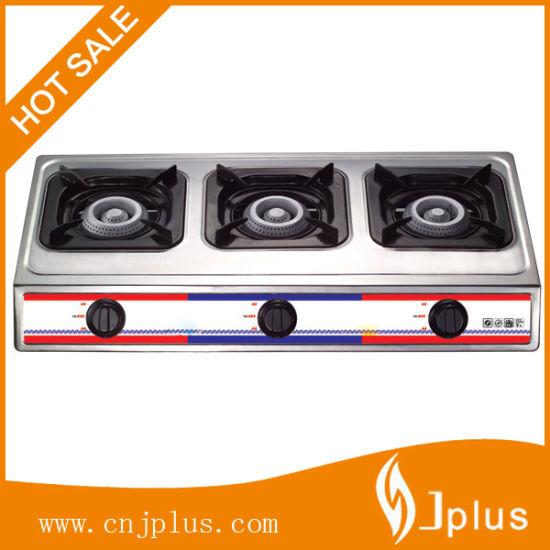 Three Burners Stainless Steel 710mm Length Iron Gloden Cap Gas Cooker (JP-GC303)