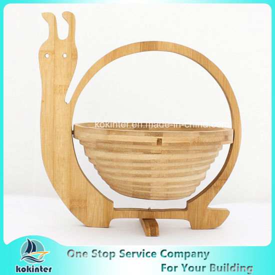 China Amazon Hot Sell Collapsible Food Safe Wooden Bamboo Fruit