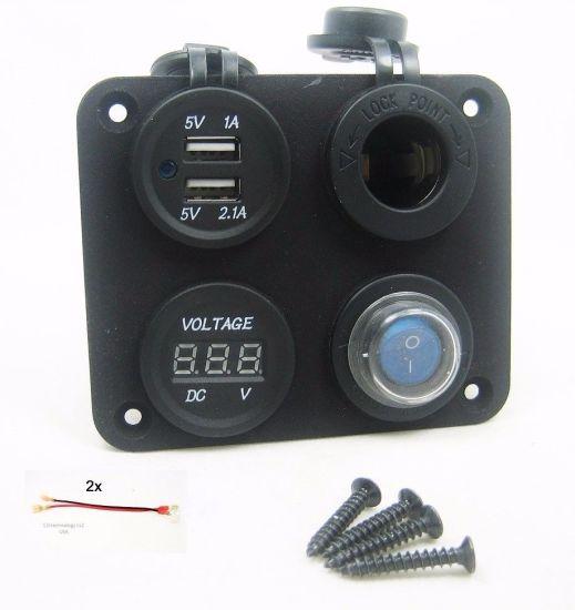 USB Charger 5 Volt 3.1 amp Led 12v Rocker Switch Cell Phone Camera 2 Port UTV RV