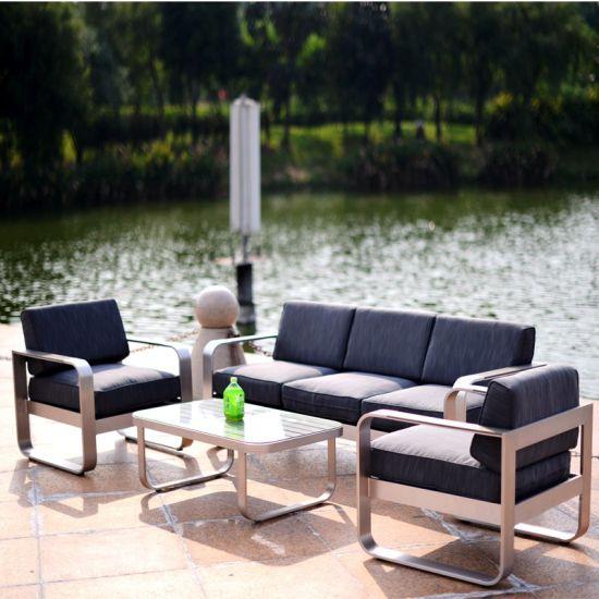 Mobilier extérieur Table et chaise Décors Patio Polywood moderne d'aluminium Accueil Hôtel canapé chaise de jardin