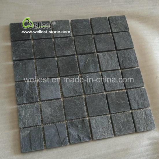 Chine Mosaïque en ardoise noire carrée antiglisse pour salle ...