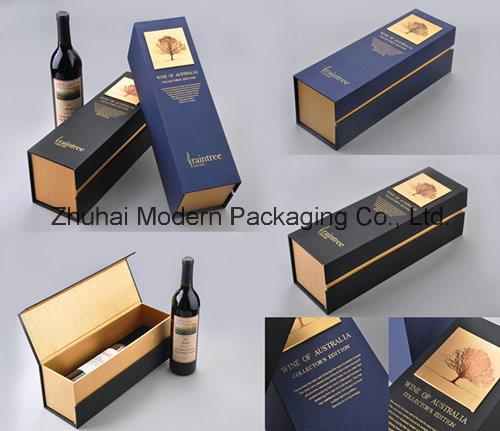 Papier de soie bo/îtes 10 or-Carton pour bouteille de vin avec coffret cadeau noir