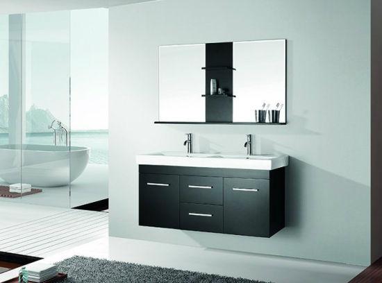 Chine Salle de bains en bois noir armoire avec miroir et le ...
