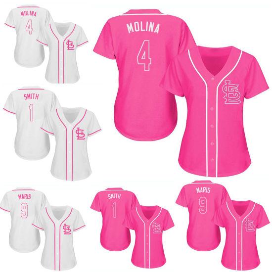 reputable site fe43f b7526 La mujer Yadier Molina Ozzie Smith Rosa blanco Camiseta de béisbol