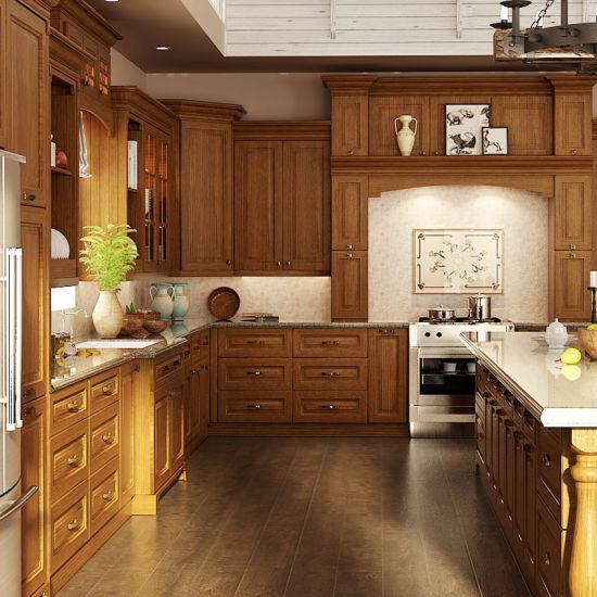 Cina Cucina in legno massiccio di quercia classica a L (OP15 ...