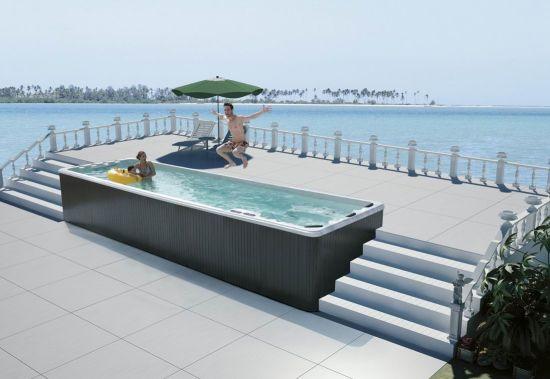 8m jardin rectangulaire Jacuzzi jets de massage spa piscine de natation  meilleur acrylique (M-3325)