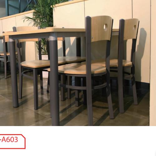 Acero madera barata 4 Plazas mesas y sillas de comedor