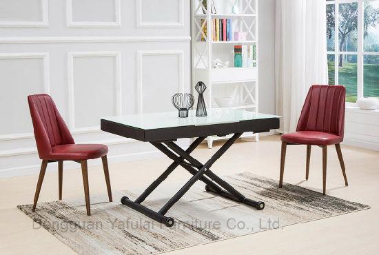 Moderna Fábrica de Vidrio blanco de extensión MDF Comedor mesa de café