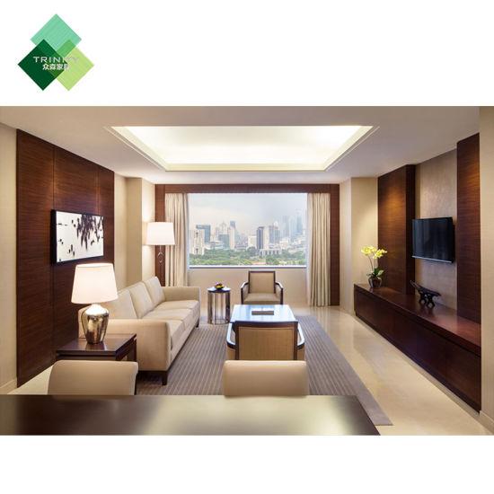 mobilia moderna di lusso completa cinque stelle della doppia base del re  Size di legno solido impostata per la camera da letto dell\'hotel