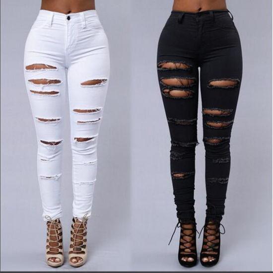 China Pantalones Vaqueros Personalizados Al Por Mayor Jeans De Mujer Rip Comprar La Mujer Jeans En Es Made In China Com
