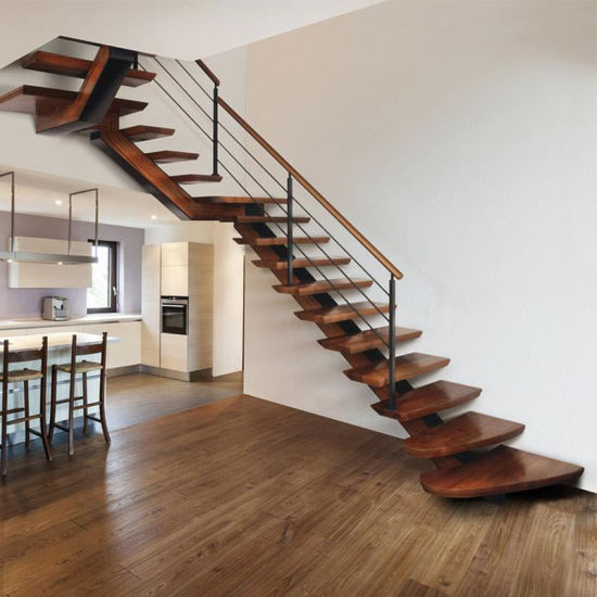 Chine Acier doux droites escalier moderne en verre flottant ...