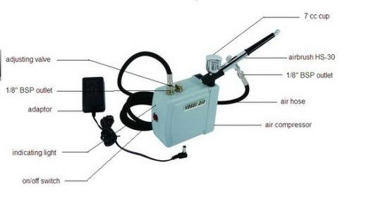 Ensemble Mini Compresseur air Aerographe Pistolet Tatouage Portable EU ACCS
