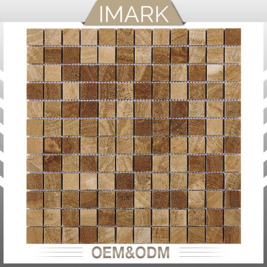 Mosaico giallo Polished della pietra delle mattonelle della parete del  marmo della cucina di prezzi poco costosi