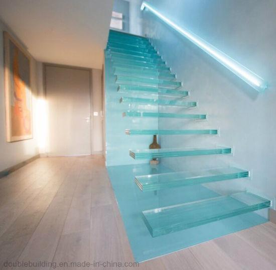 Escaliers flottante de verre avec LED Hiden Stringer cantilever escalier  moderne