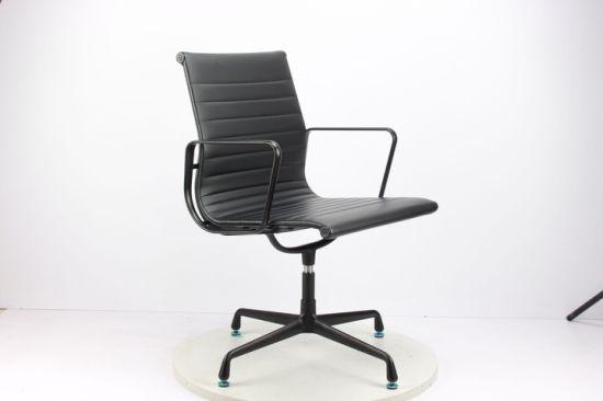 China Aleacion De Aluminio Negro Amrest Cuero Estilo Eames Silla