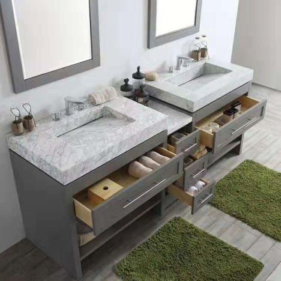 Cinza Branco Casa De Banho Em Granito