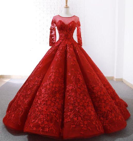profesional mejor calificado gran surtido calidad real Mangas 3/4 nupcial rojo vestido de novia vestido de bola de encaje de 15  años vestidos de Quinceanera Z3022