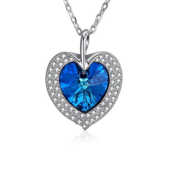 Fashion NECKLACE Bijoux diamant élégant cadeau Cristal Swarovski bleu 925  Sterling Silver or 18K Coeur de l'océan Crystal Necklace