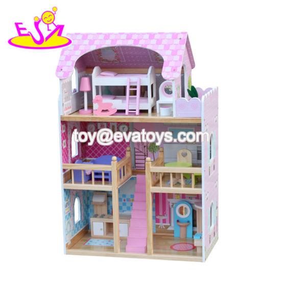новая конструкция больших размеров розового цвета деревянная кукла ребенка дом для девочек W06a163b