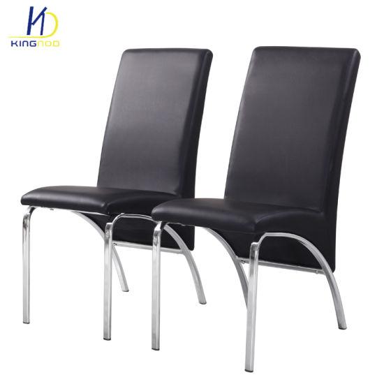 Les Pattes En Chrome Metallique Au Design Moderne Confortable Chaise De Salle A Manger De Pu Ergonomique En Cuir