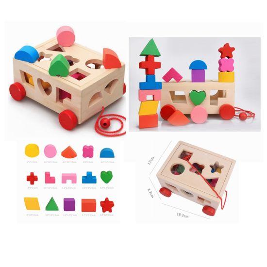 монтессори деревянные 3d геометрии перетащите автомобиль в салоне детей образования блоки игрушка