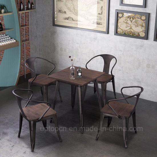 Sp Cs857 De Couleur Rouille Industrielle Restaurant Table Et Chaise De Meubles En Metal