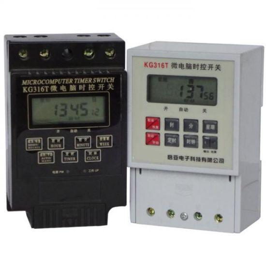 Riel Din Digital LCD Temporizador programable de alimentación AC 25A 220V Relé conmutador KG316T-II