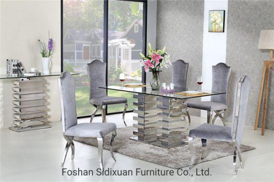 China Moderno mobiliario de acero inoxidable cristal mesa ...