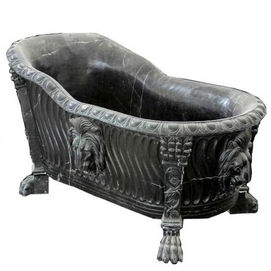Accueil Utilise Pierre Noire Gothique Une Baignoire En Marbre Avec Tetes De Lion