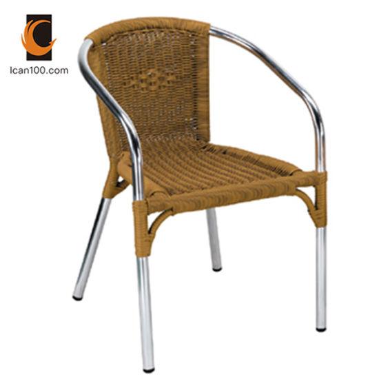 Anti décoloration Outdoor Garden Restaurant meubles en osier en plastique de l'aluminium Accueil chaise de salle à manger