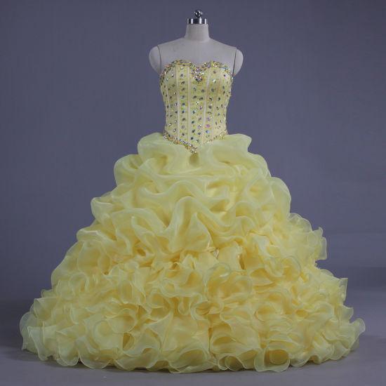 China E636 Strapless Formal Organza Amarelo Vestidos De