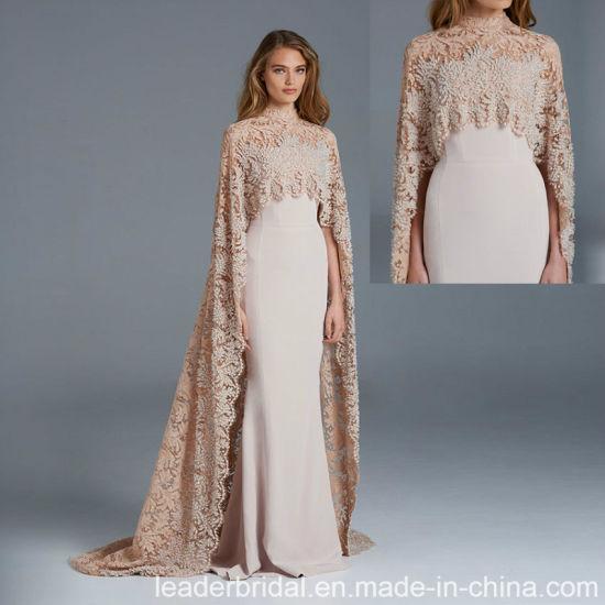 pretty nice fa35b 1c658 Vestito da sera lungo del merletto di Champagne dello scialle dell'abito  convenzionale arabo E20168
