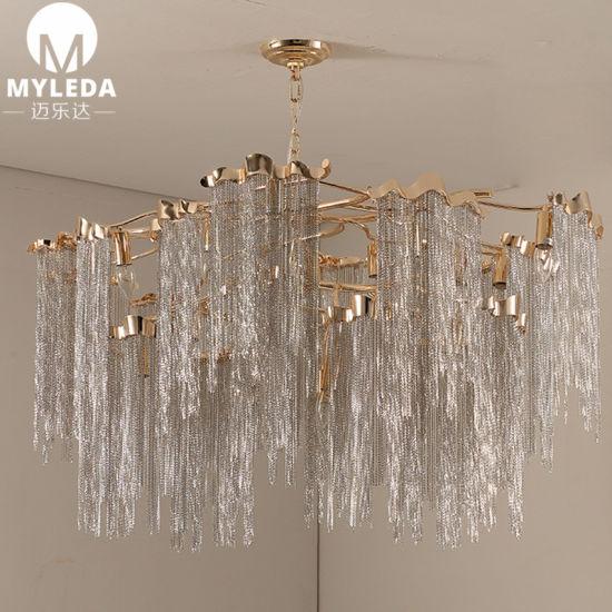 la cadena aluminio de colgantes Espiga lujo luz China de de Nwv8mn0
