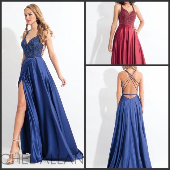 China Sweetheart Prom Party Kleider Blue Wine Split Seite A Line Abend Formelle Kleidung Z807 Kaufen Abendkleider Auf De Made In China Com