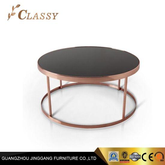 Or Rose contemporain Table basse avec plateau en verre laqué noir