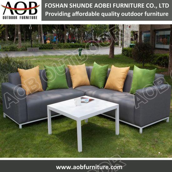 Tissu en aluminium de nouvelle conception de mobilier de jardin Coin salon  un canapé-Jeu de coupe