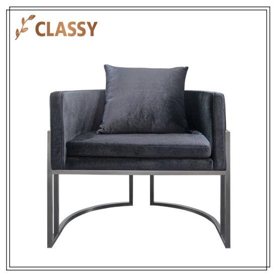 China Base de metal de franela negra sillón para Comedor ...