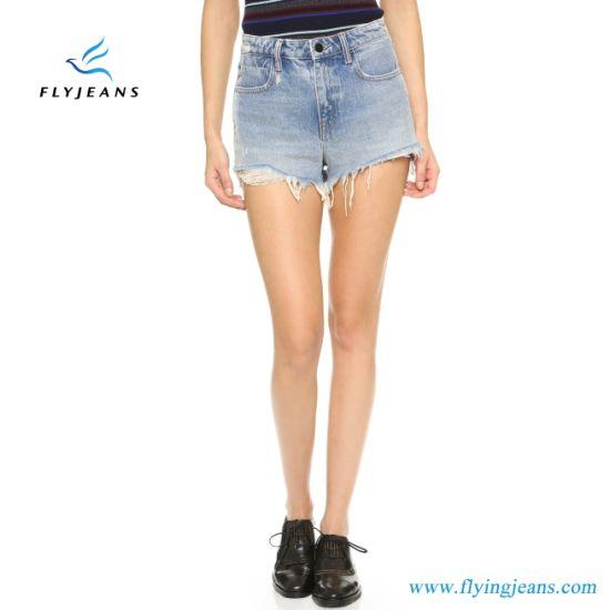 Venda a quente Azul Moda Skinny esfarrapado angustiados Mini Pants SenhorasMulheres curtos de denim pelo fabricante de jeans (Shorts E. P. 222)