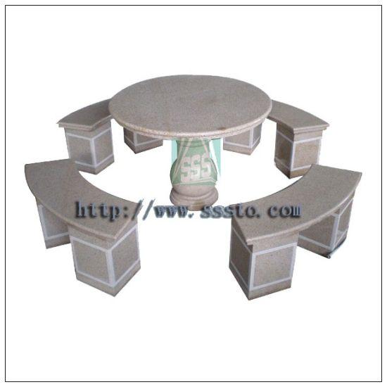 Table de pierre à bon marché & Bench (meubles de jardin)