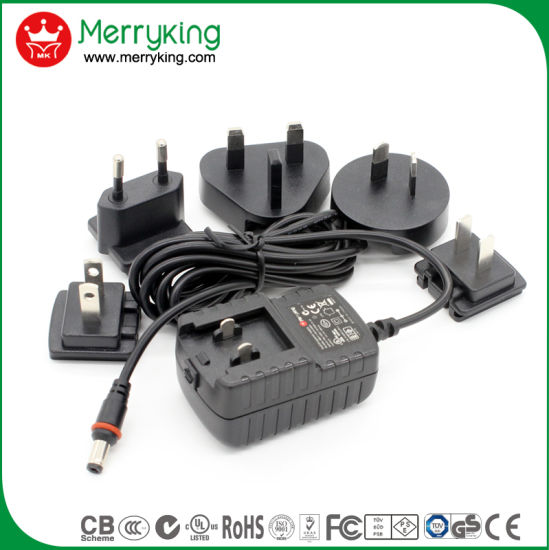 12V 1A AC//DC UK /& Euro Power Supply with 6 Interchangeable DC Plugs