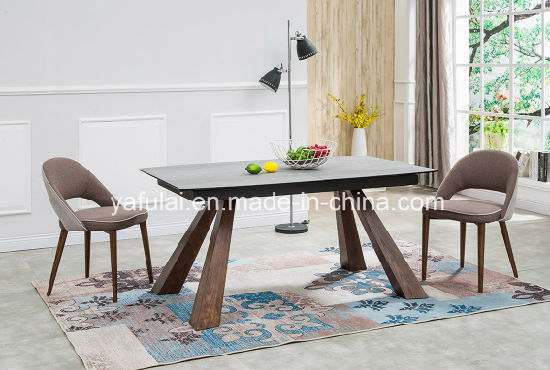 La moderna mesa de comedor madera maciza de extensión de cerámica Muebles  de Comedor