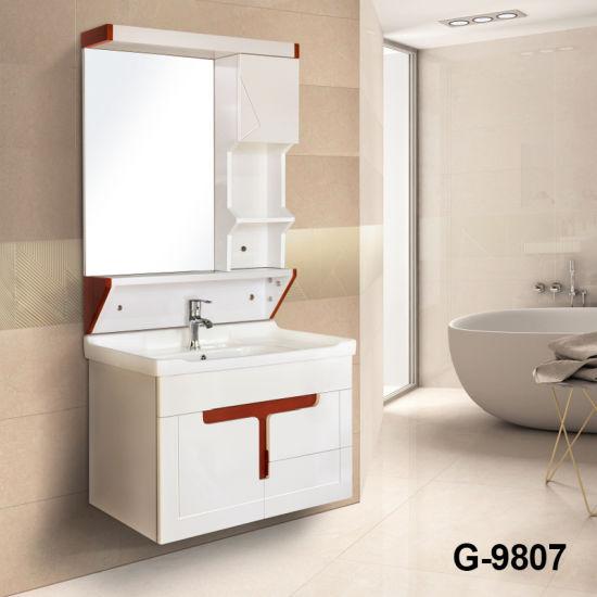 Casa de PVC muebles cuarto de baño con armario de espejo LED