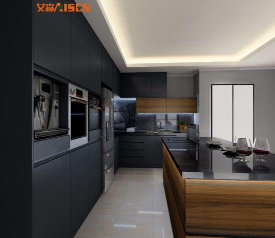 Meubles de cuisine design moderne en bois de couleur gris mélangé Style de  couleur des armoires de cuisine laque finition mate