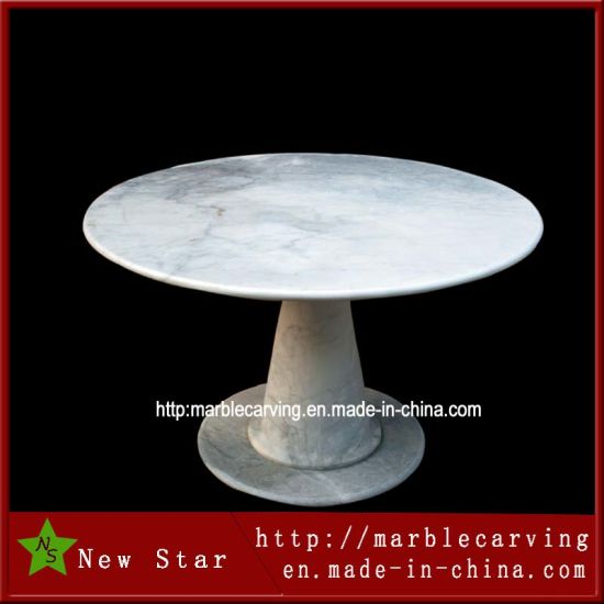 Chine Table ronde de sculpture en marbre blanc pour le ...