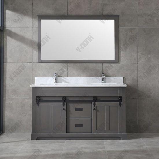 Chine Gris foncé 60inch lavabo double Salle de bains vanité ...