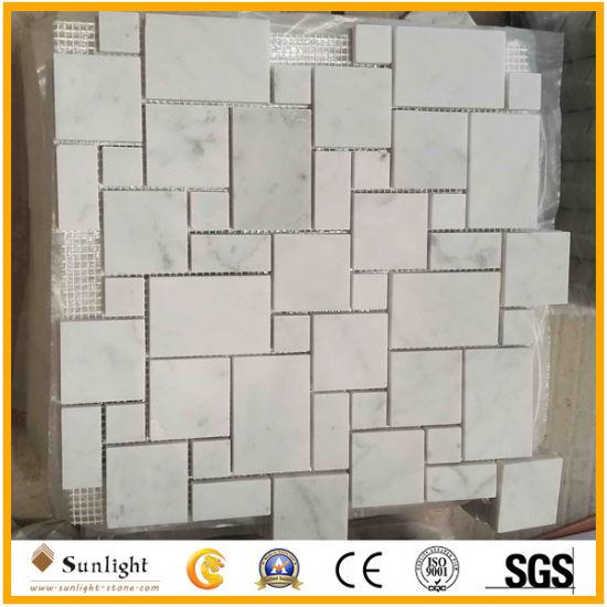 Mosaici di marmo bianchi della cucina/stanza da bagno di Carrara per il  pavimento e la parete