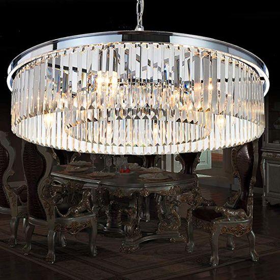 lámparas de salón contemporáneas China Araas De Cromo Cristal Modernas Lmparas De Techo
